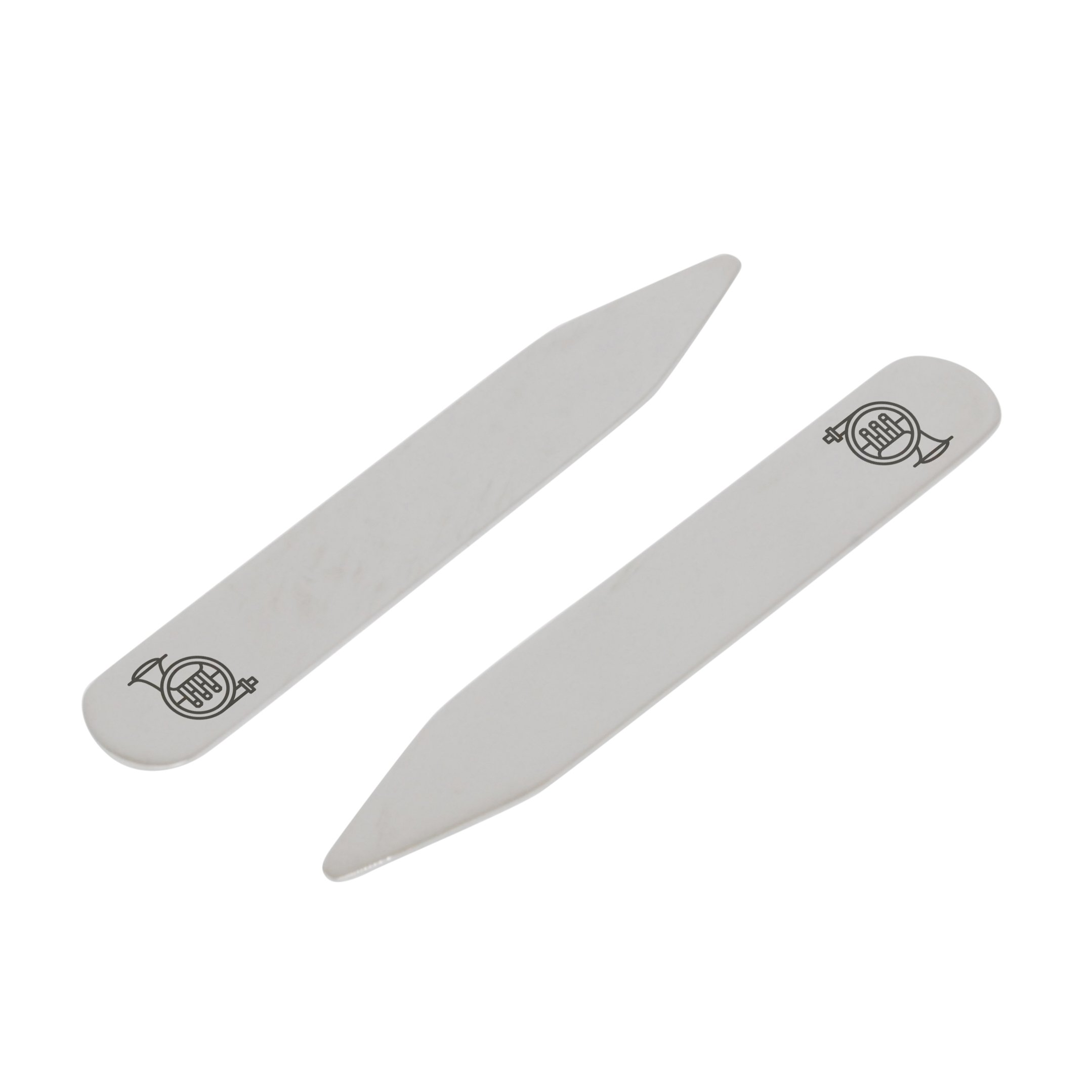 MODERN GOODS SHOP Stainless Steel Collar Stays With Laser Engraved Tuba Design - 2.5 Inch Metal Collar Stiffeners - Made In USA