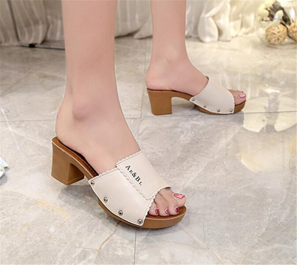 Cloudless Women Fashion Summer Slope Sandals Loafers Shoes High Platform Wedge Sandal B07DHDQRSV 37/6.5 B(M) US Women|Beige