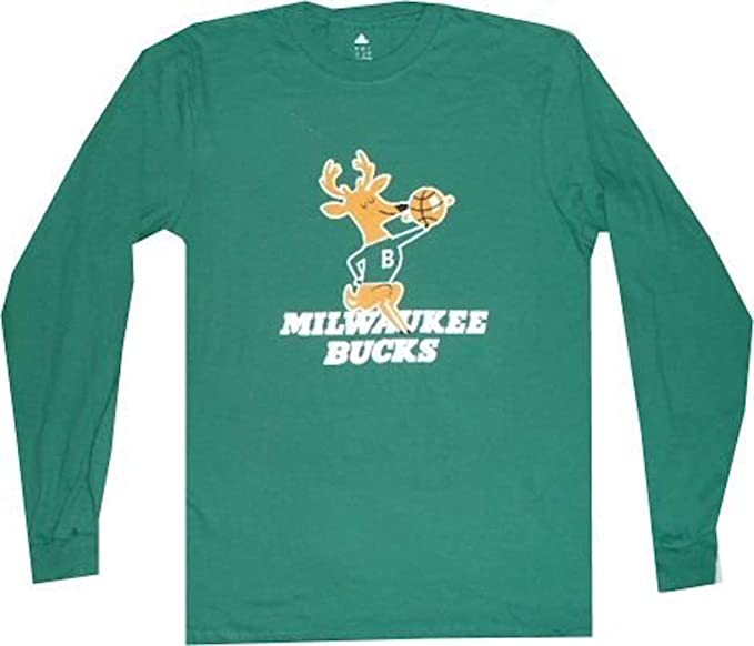 sale retailer c3dfe 14553 adidas Milwaukee Bucks Throwback Green Long Sleeve Shirt