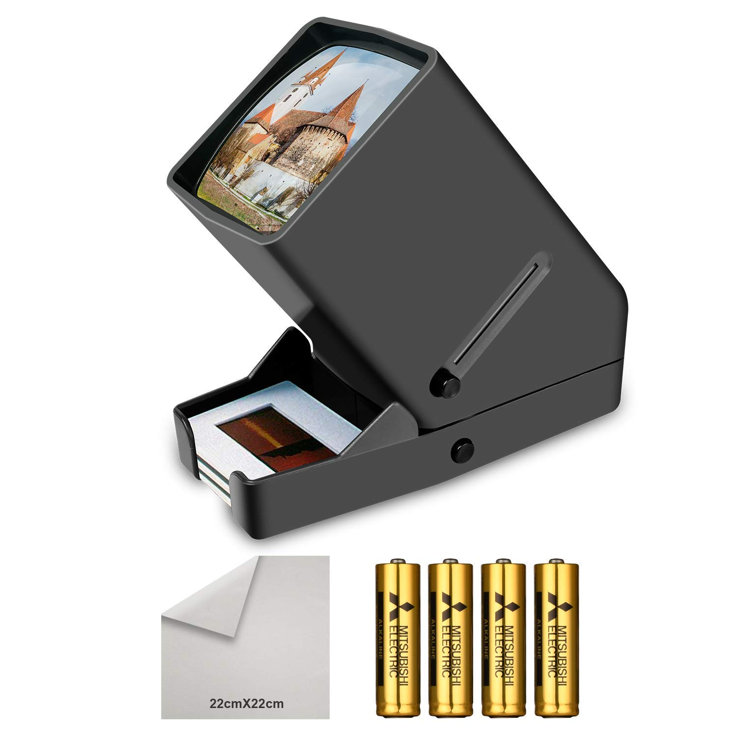 Rybozen 35mm Film and Slide Viewer, 3X Magnification and Desk Top LED Lighted Illuminated Viewing and Battery Operation-for 35mm Slides & Positive Film Negatives(4AA Batteries Included)