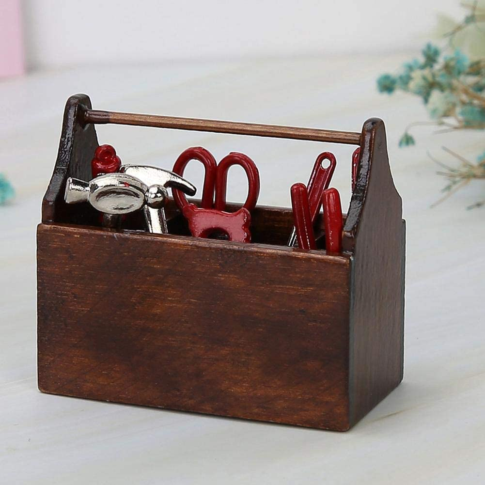 Nannday Dollhouse Furniture Miniature Tool Box Wooden Toolbox Model for 1//12 Doll House Accessories for Kids Toy Doll House DIY