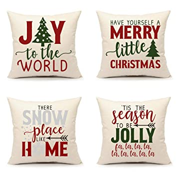 Amazon.com: 4TH Emotion Set of 4 Red Green Christmas Saying ...
