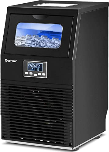COSTWAY-Commercial-Ice-Machine,-88LBS/24H-Automatic-Portable-Freestanding-Ice-Cube-Maker