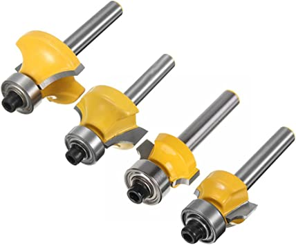 4Pcs Round-Over Router Bits 1//4 Inch Shank Corner Rounding Edge-forming Beading