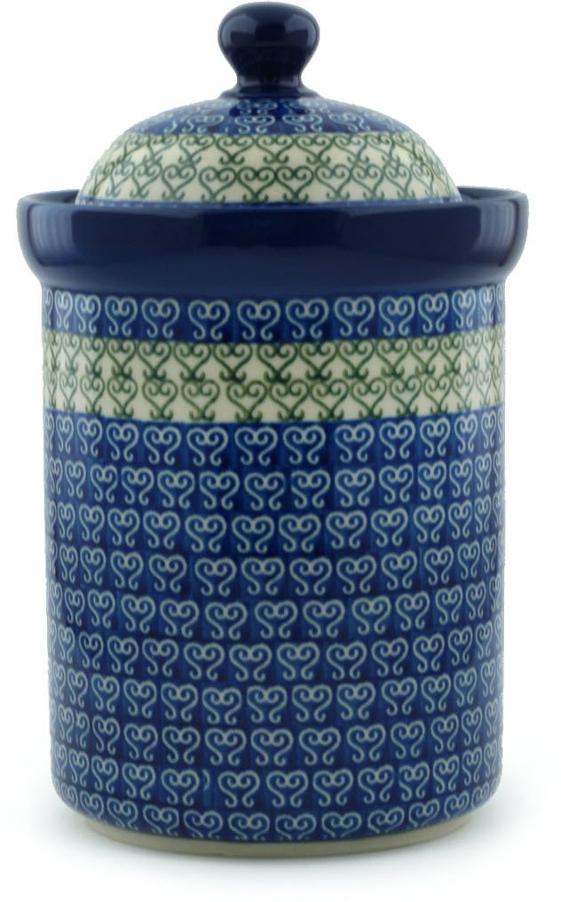 Polish Pottery Jar with Lid 9-inch Lovely Heart by Polmedia Polish Pottery