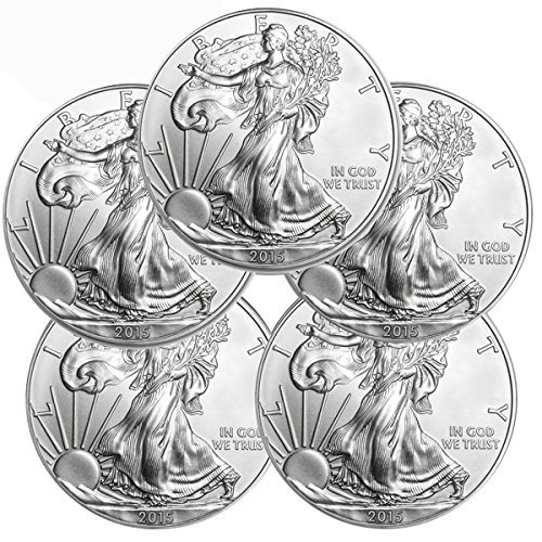 2015 - American Eagle Silver 5 Coins $1 Brilliant Uncirculated US Mint with our Certificate of Authenticity Uncirculated