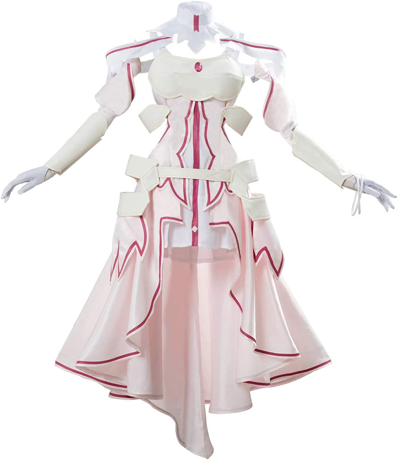 Amazon Com Womens Asuna Yuuki Sao Sword Art Online Cosplay Costume Deluxe Full Sets Dress Halloween Outfit With Accessories Clothing