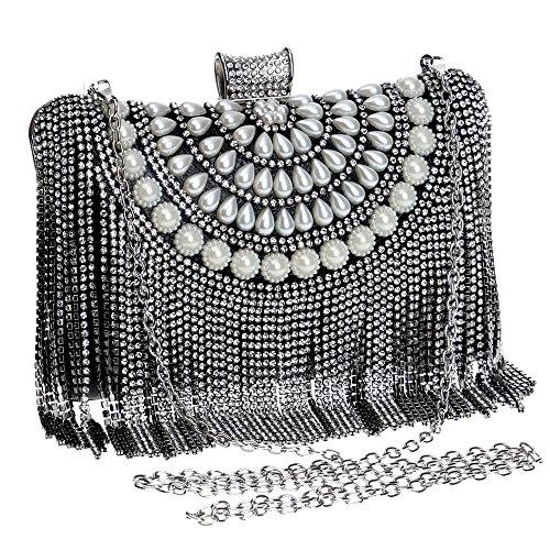 Symbolove Womens Fashion Tassels Evening-handbags Exquisite Evening Party  Wedding Clutch Bag For Womens-C1 bd8fc47e9cb61