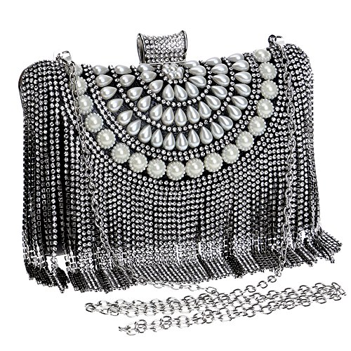 Symbolove Womens Fashion Tassels Evening-handbags Exquisite Evening Party Wedding Clutch Bag For Womens-C1
