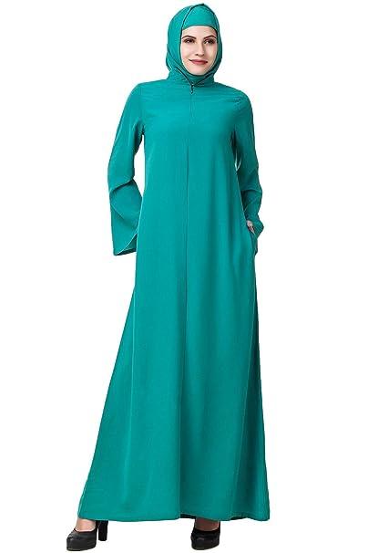 MyBatua musulmanes abaya ropa verde formal y casual burqa maxi AY-582 (XS)