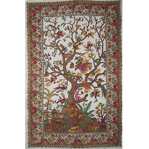 Cream Tree of Life Indian Bedspread, Twin Size by Mandala Creations