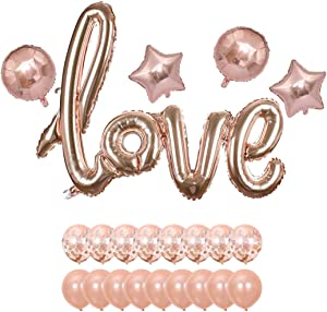 Valentines Day Decorations, 42 Inch Rose Gold Love Balloons Kit – Pack of 15 | Rose Gold Valentines-Day Party Supplies, Heart Shaped and Latex Balloon kit | Wedding, Bridal Shower Decorations (love suit-03)