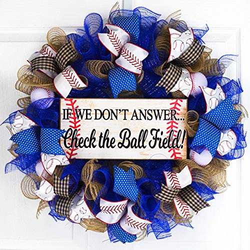 (Baseball Ball Field Mesh Door Wreath; If We Don't Answer Baseball Stitching | Royal Blue White Red)