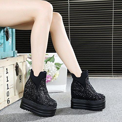 khskx-korean invierno botas y cachemir Super para Casual zapatos de plataforma de tacón alto zapatos en mate Stealth mayor hembra Sequins black