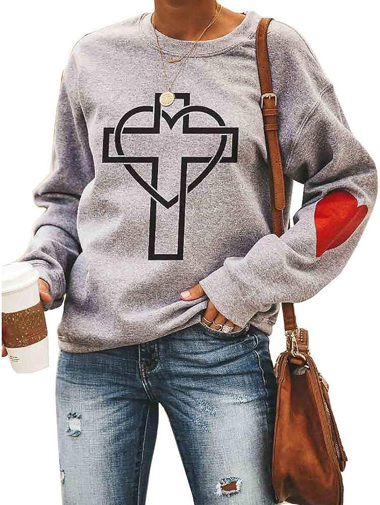 Love Heart Shirt Plus Size Pullover Women Long Sleeve Tops Sweatshirts Easter