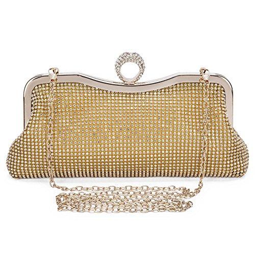 Soirée en Perle Faux Strass cascade Perles Pochette Perle Or Femmes Bwf01xSq