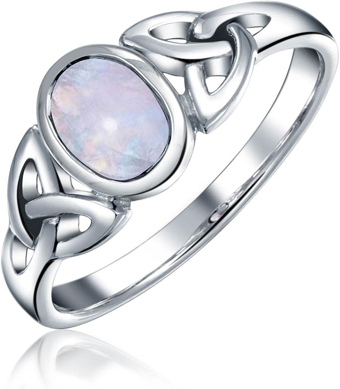 Bling Jewelry–Anillo Piedra de Luna 925Plata diseño Triquetra Celta Nodos