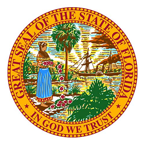 - RDW Florida State Seal - Color Sticker - Decal - Die Cut - Size: 10.00