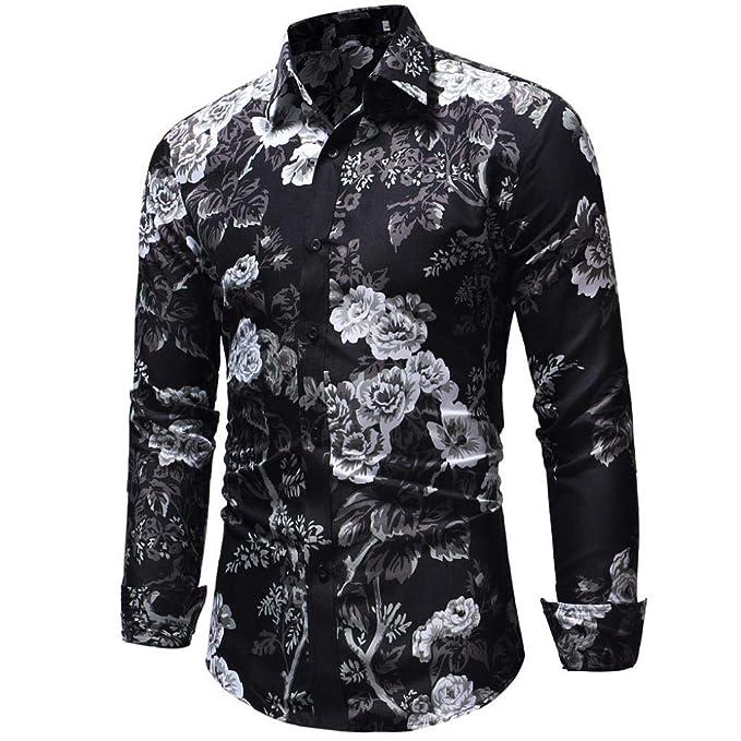 OHQ_Camisa Hombre Blusa OtoñO Moda 2018 Invierno Casual Print Floral Manga Larga BotóN Camiseta Top Blusa