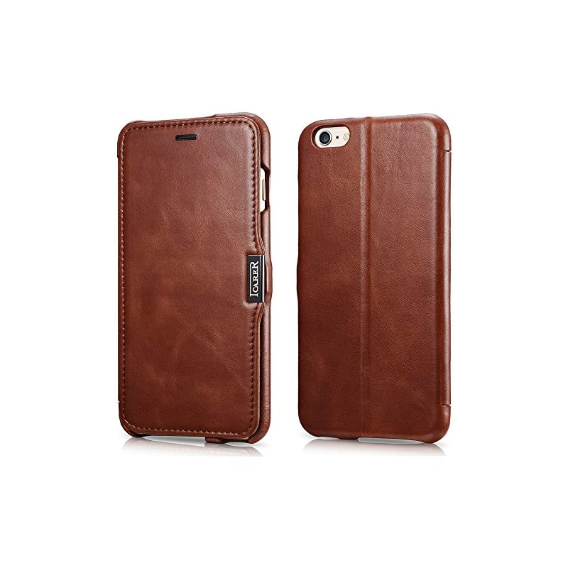 iPhone 6s Plus/ 6 Plus Case, Icarercase Vintage Series [Genuine Leather] Folio Case Flip Cover Wallet [Card Slot] Kickstand with Magnetic Closure for iPhone 6s Plus/ iPhone 6 Plus 5.5 Inch (Brown)