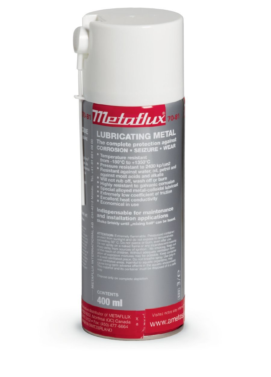 Titanium Metal Lubricant Spray & Corrosion Inhibitor| Industrial Heavy Duty Metal Lubricant Based On Titanium| Non-Flaking, Nickel, Copper and Aluminum-Free by Metaflux (13.5 Oz Spray)