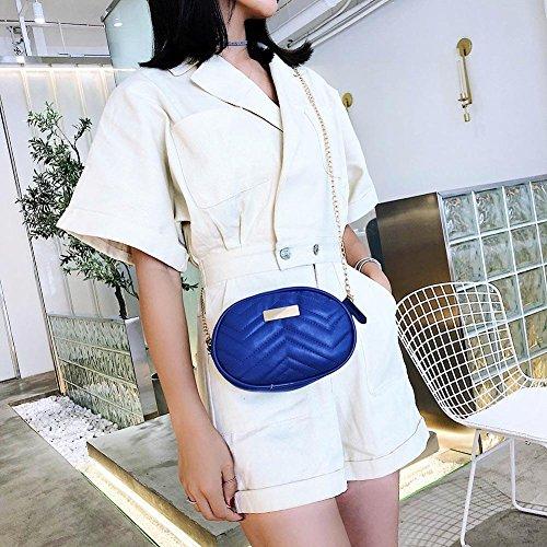 Bags Packs Waist Shoulder Everpert Dark Crossbody Fanny Leather Chain Oval Casual Women Blue AZHnq1SR