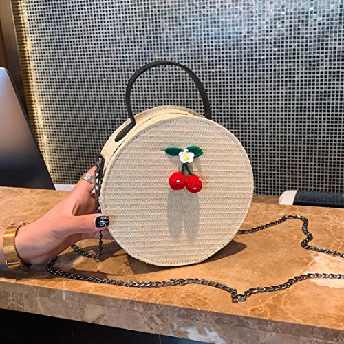 Main Mode Vintage femmes mode Femme Femme Cabas à Sac JIANGfu bandoulière bandoulière de main sac messager simple à rond Beige à sac Sac sacs tissage FvIn7nP
