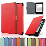 HAOCOO Ultra Slim Leather Smart Case Cover Build in Magnetic [Auto Sleep/Wake] Function for All-New Kindle Paperwhite 2012, 2013, 2015 Versions (Not fit All-New Paperwhite 10th Generation)(Red)