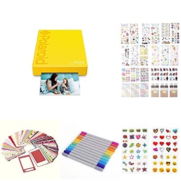 Polaroid Mint Pocket Printer (Yellow) wit 2x3ʺ Premium Photo Paper 20-Pack, Soft Camera case, Zink Paper Unique Colorful Stickers & Photo Album ...
