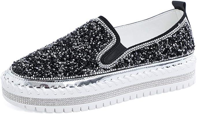 Size Shining Rhinestone Slip-on Loafers