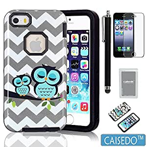 iPhone 5C Case, CAISEDO(TM)T987-ABW Plastic + TPU Owl Pattern Tuff 3-Layers Hybrid Armor Case Suitable For iPhone 5C,Including Stylus,Screen Protector and Cleaning Cloth. [C637B1]Black