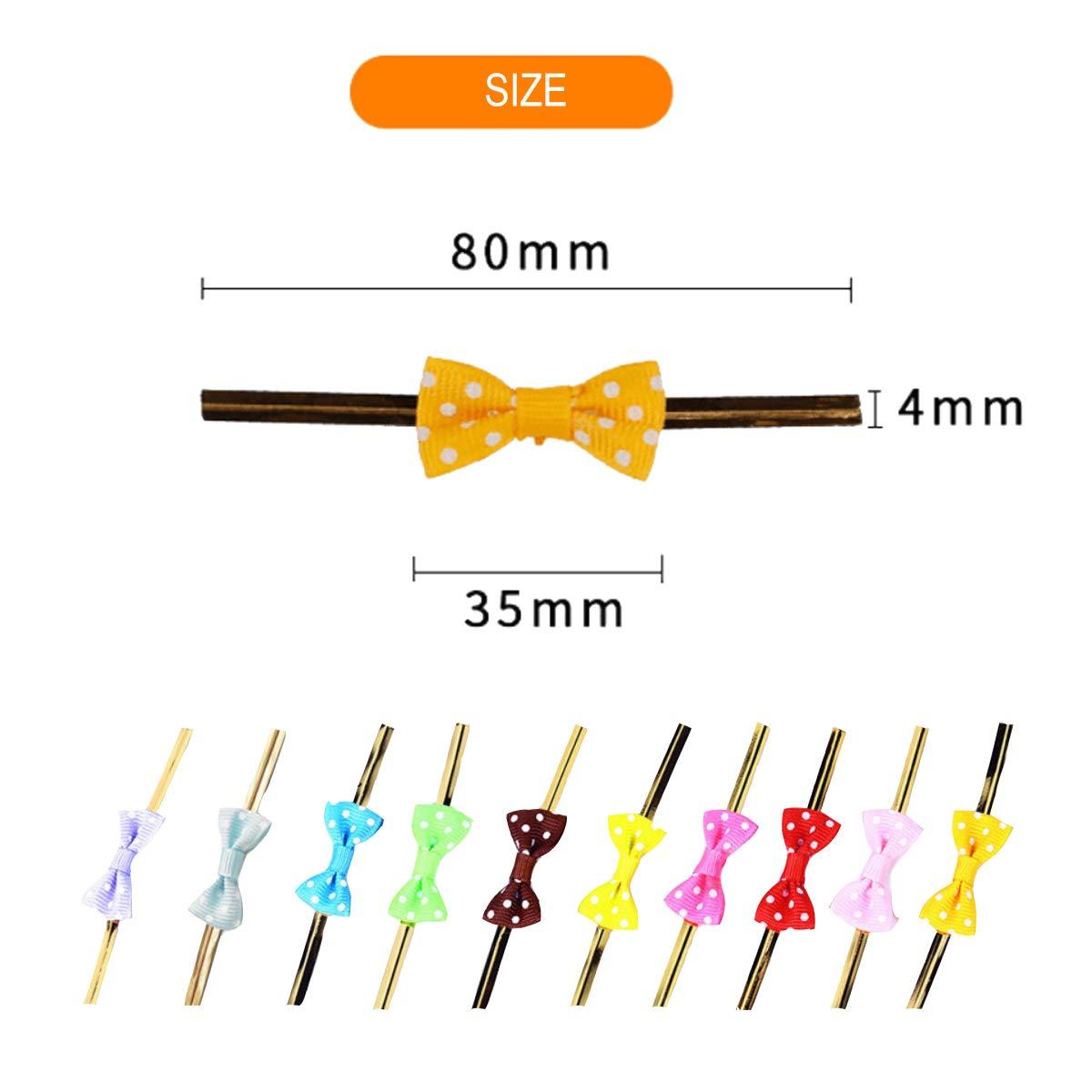 Cellophane Chocolats Twist Ties M/étalliques avec 10 Couleurs pour Les Biscuits Sachet Attache en Fil de Fer d/Étanch/éit/é pour Sac Bonbons Emballage Funhoo Lot de 200 Lien Torsad/é Bowknot