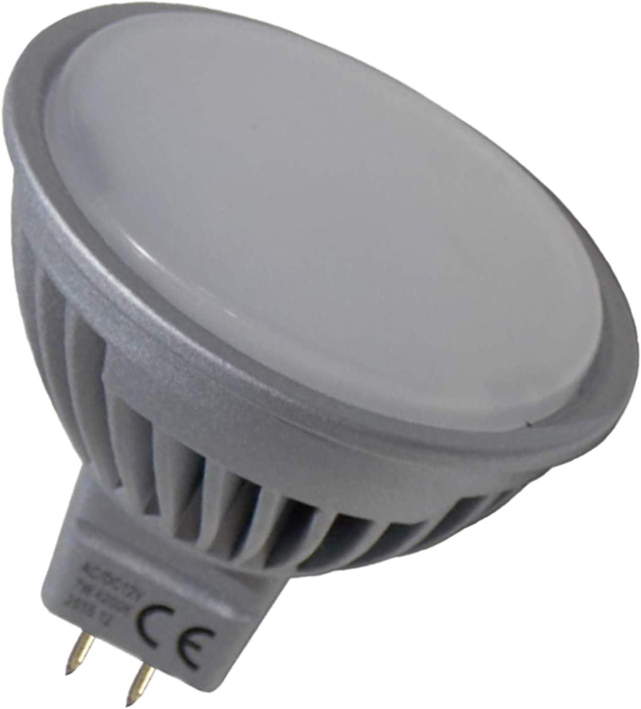 Pack 10x MR16 12-24v 7w 120 grados Regulable. Color Blanco Neutro (4500K). 600 lumenes. Para uso con transformador (NO incluido). Bi-pin.