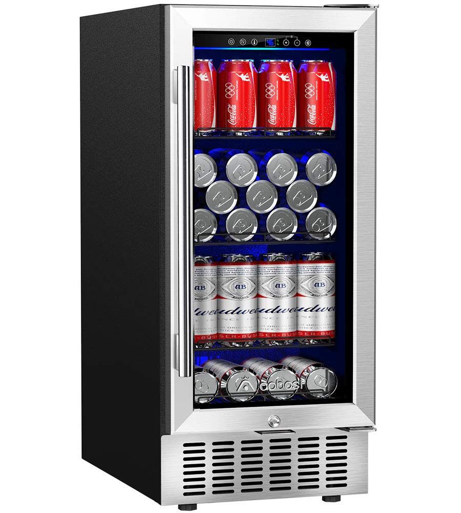 Aobosi 15 Inch Beverage Cooler, 94 Cans Built-in Beverage Refrigerator with Advanced Cooling System, Blue Interior Light, Quiet Operation - for Beer, Soda, Water or Wine - Fit Kitchen, Office or Bar