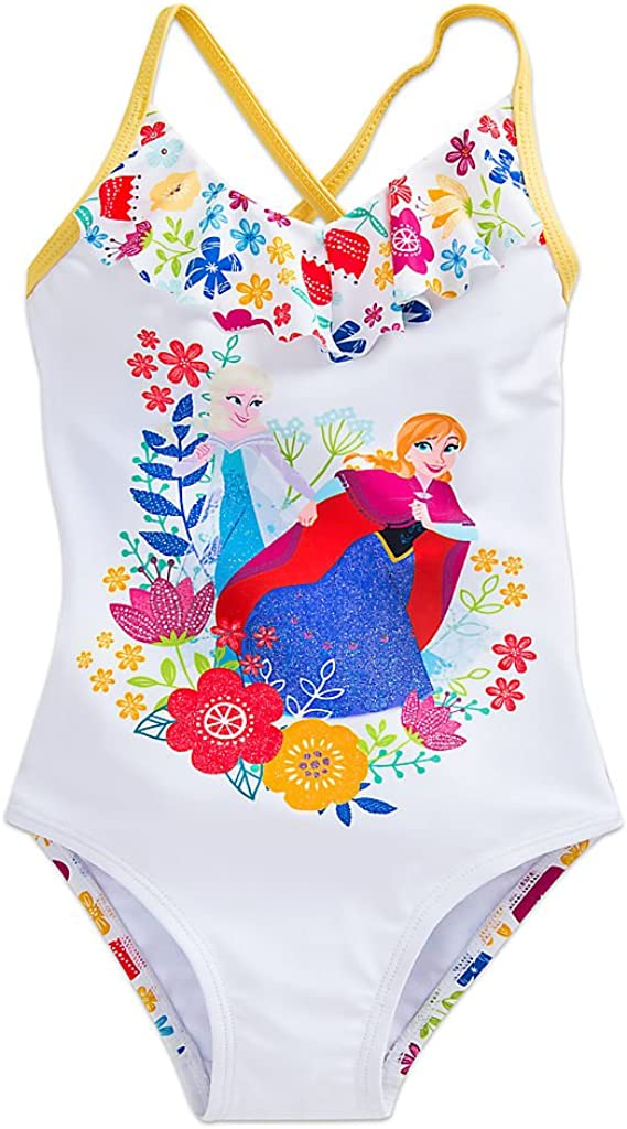 Anna Elsa and Olaf Swimming Costume Ages 3 to 10 Years Old Girls Frozen 2 Swimming Costume One Piece Swimsuit for Girls