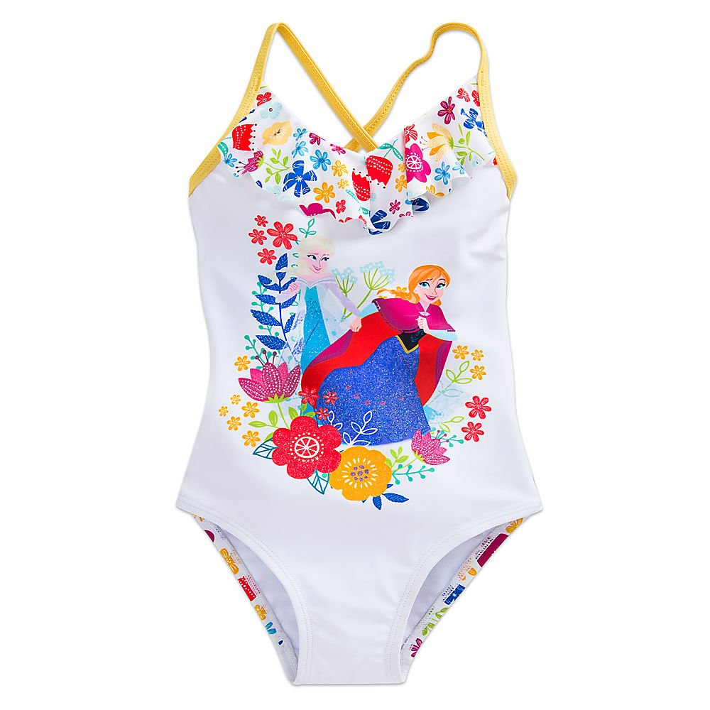 af83056403552 Amazon.com: Disney Frozen Anna and Elsa Swimsuit for Girls White: Clothing