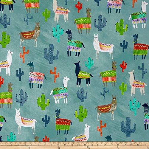 QT Fabrics Picnic Alpacas & Cactus Aqua Yard