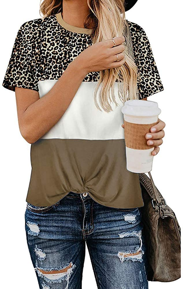 Camiseta Femenina De Verano con Cuello Redondo Y Manga Corta De Leopardo para Mujer: Amazon.es: Ropa y accesorios