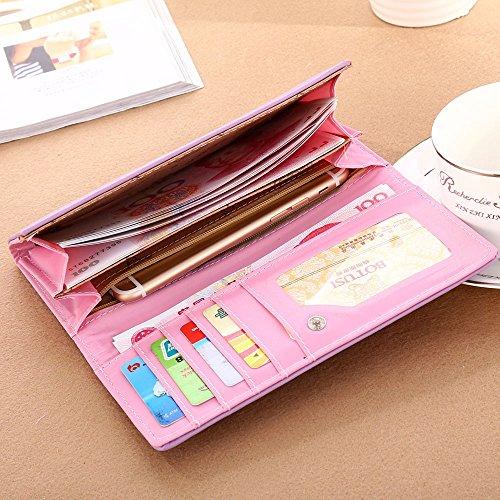 Damen Leder Geldbörse Katze Muster Lange Geldbörsen Kreditkarten Kupplungshalter Brieftasche Geldbeutel Handtasche (A Schwarz) B Violett A1fiNl