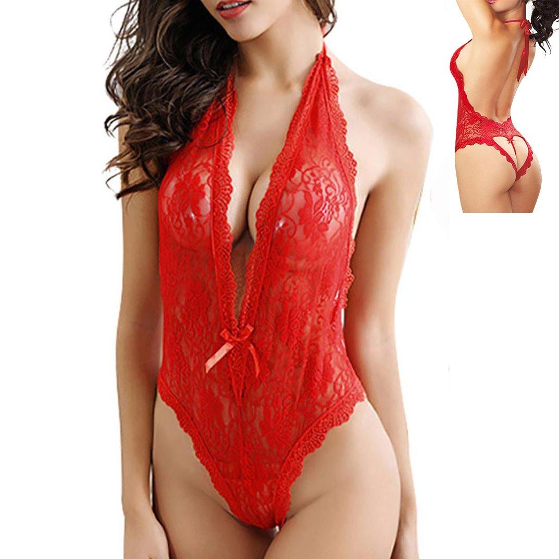 9325b6b8b6 Sannysis Mujeres lencería Body Tallas Grandes de Encaje Babydoll Abierto Ropa  Interior Dormir bondaje Forma de