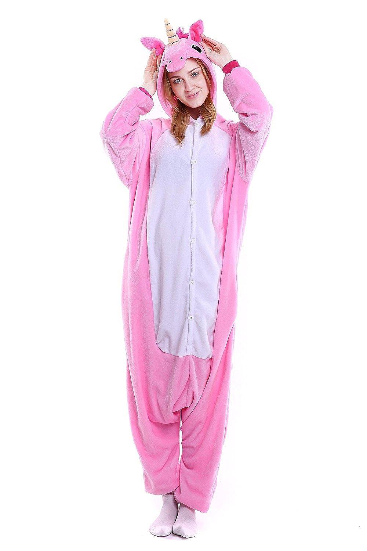 fbf333b2f35 CozofLuv Pijama Animal Unicornio Entero para Adultos Pijama Mono Animal  para Mujer Hombre Disfraz para Navidad