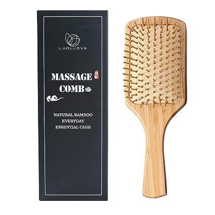 Cepillo Sabello Plano,LUOLLOVE Natural Cepillo Pelo Bambu,Antiestático, Dientes de Peine Lisos