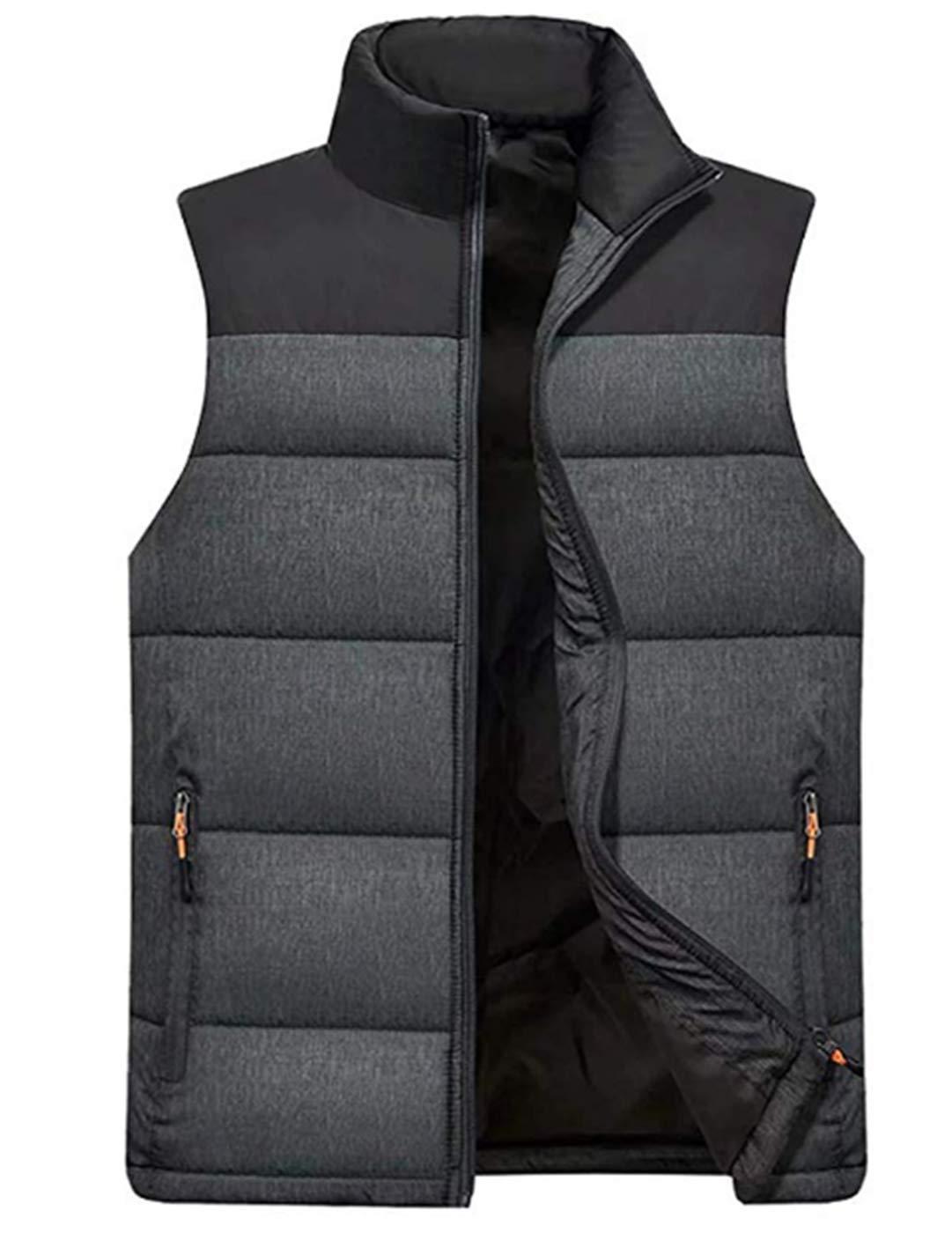 Vcansion Men's Stand Collar Lightweight Vest Casual Down Jacket Coat Vest Black+Dark Grey XL by Vcansion