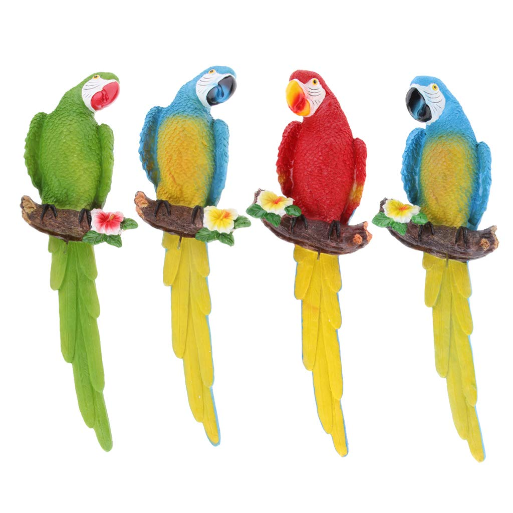 NON Sharplace 4 X Resina Artesanal Realista Loro Pájaro Herramientas Manual de Jardin Oficina Hogar