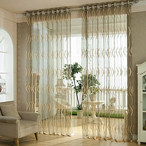 Elisona-100 x 200cm Pierced Tulle Embroidered Door Window Curtain Drape Sheer Beige Brown