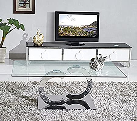 Modern Furniture Direct Contemporary Clear Glass Coffee Table Low Living Room Table Designer Occasional Table Silver Rectangular Table 110 X 70 Cm Channel Amazon Co Uk Kitchen Home