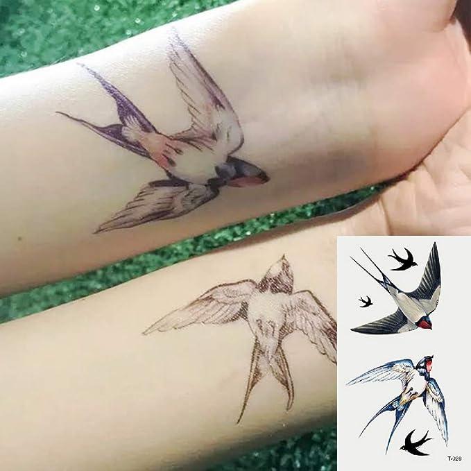 Oottati 2 Hojas Pequeño Lindo Tatuaje Temporal Tattoo Golondrina ...