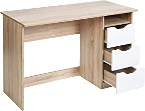 "FurnitureR Computer Desk Workstation, 43.3""Wood Corner Writing Table with Shelf 3 Drawers Storage for Home Office Study Teens Room …"