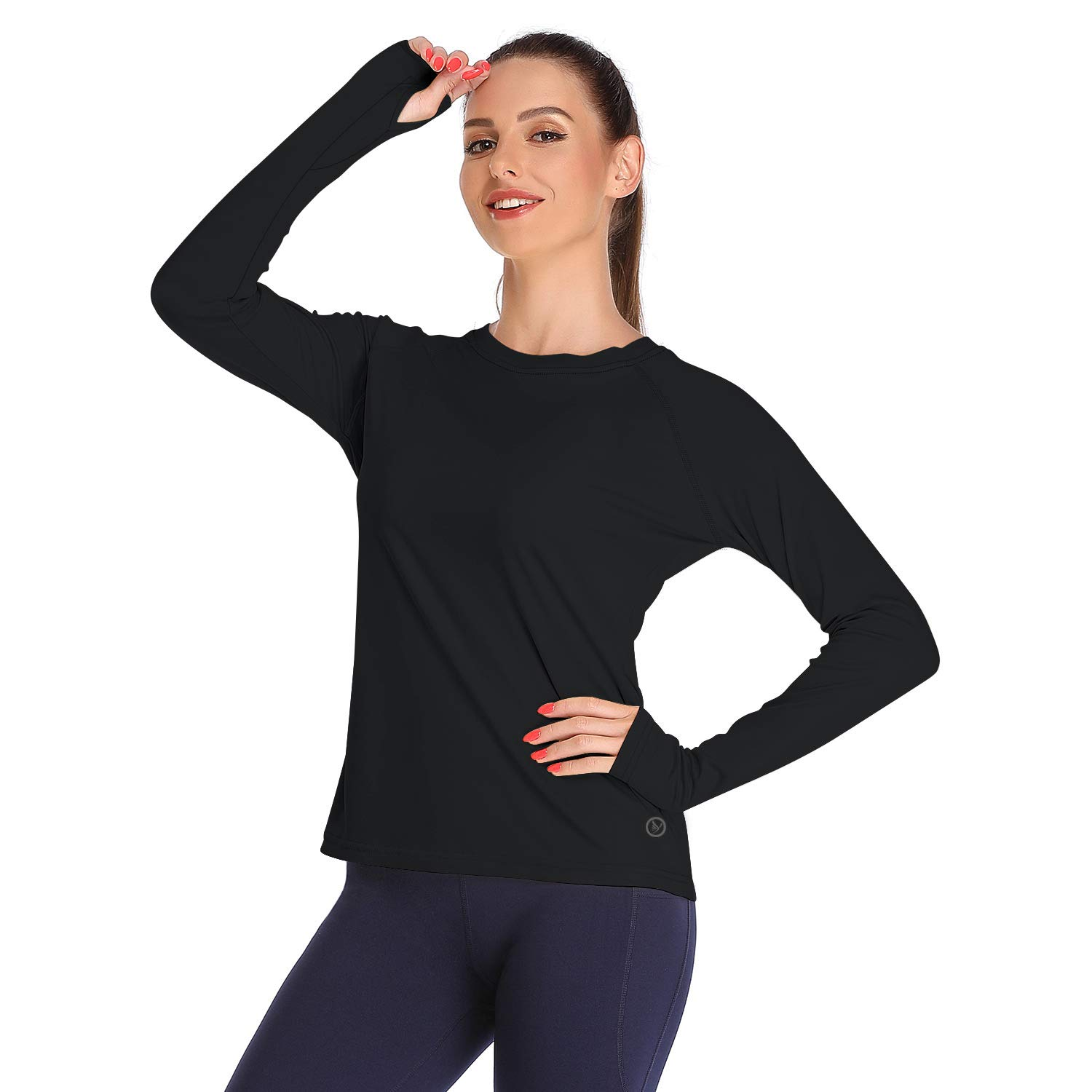 DAYOUNG Womens UPF 50+ UV Sun Protection Running Hiking Outdoors Performance Long Sleeve T-Shirt Athletic Top with Thumb Hole YWT11 Black XL by DAYOUNG
