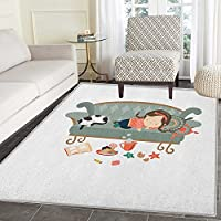 Kitten Rugs for Bedroom Sleeping Young Girl with Her Cat at Sofa Coffee Cookies Book and Candy Pastel Colors Circle Rugs for Living Room 4x6 Multicolor